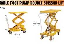 Portable foot pump double scissor lift