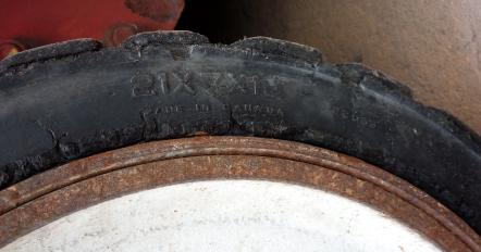 Worn Forklift tire